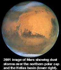 HST image of Mars showing dust storms