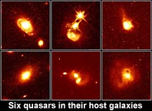 6 quasars in their host galaxies