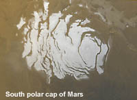 South pole cap on Mars