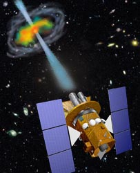 artist conception of Swift and a gamma-ray burst