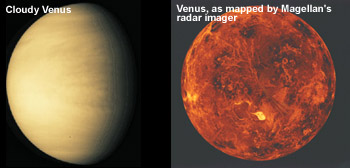 images of cloud-covered Venus and radar-mapped Venus
